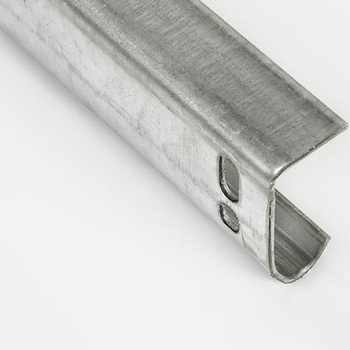 Vertical door track, 2 inch, stainless steel